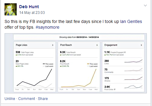 Social proof from Deb Hunt FB Stats